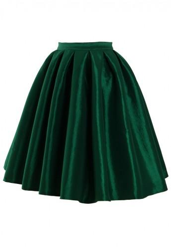 green skirt green a-line midi skirt - retro, indie and unique fashion kqylkhj
