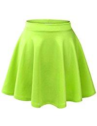 green skirt mbj womens basic versatile stretchy flared skater skirt - made in usa mpacztm