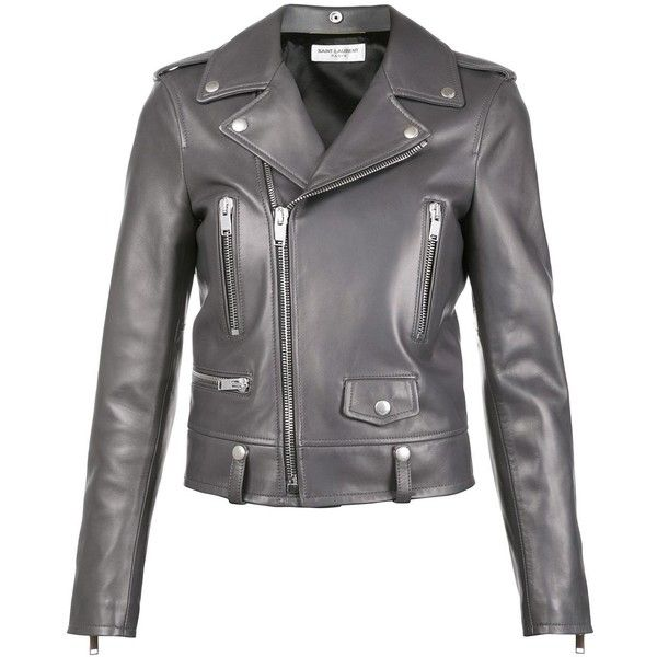 grey leather jacket saint laurent classic leather biker jacket ($4,390) ❤ liked on polyvore  featuring gzvtzrc