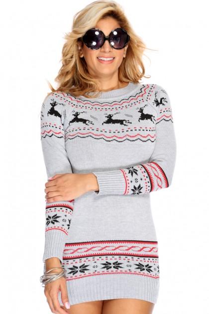 grey multi long sleeves christmas sweater dress iheywjt