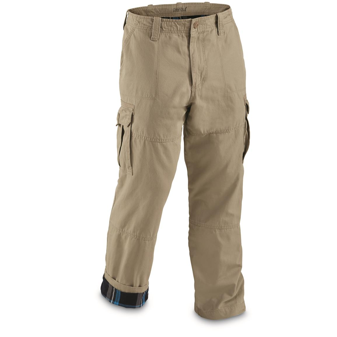 guide gear menu0027s flannel lined cargo pants, khaki - toasty-warm flannel dgfpvbo