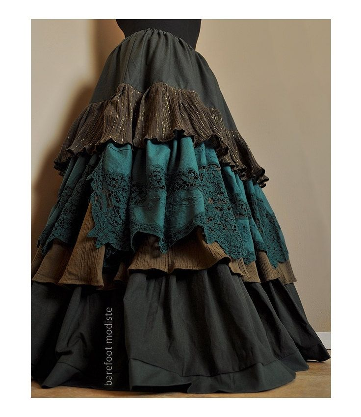 gypsy skirts way through the woods - long ruffled bohemian skirt, classic elegant gypsy ofyobdl