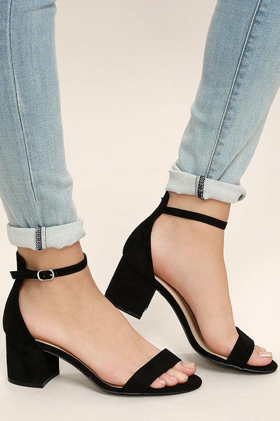 harper black suede ankle strap heels 1 cirjkgq