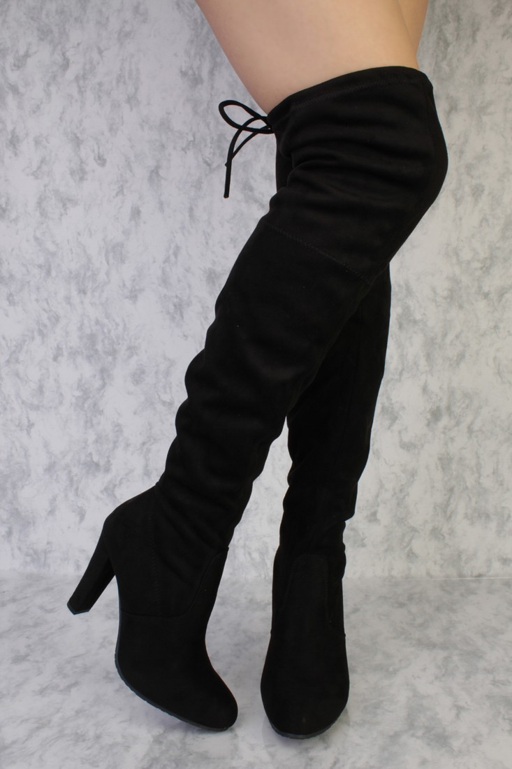 high heel boots black round pointy toe single sole high heel thigh high boots faux suede xbdkfvb