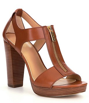 high heel sandals michael michael kors berkley leather zip-up block heel sandals uvqftgs