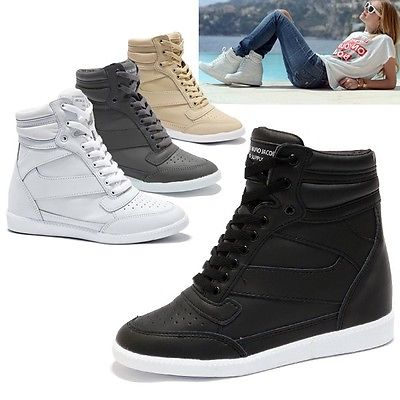 high top sneakers for women details about womens trendy high top wedge sneakers trainers lady casual  sky ddveyhc