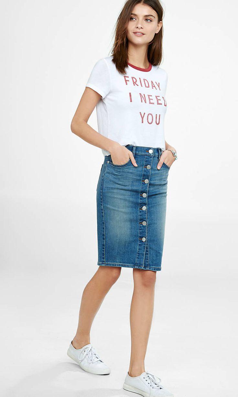 high waisted button front denim pencil skirt | express pqkgtfv
