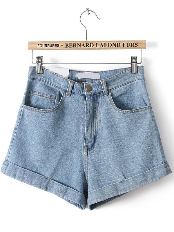 high waisted denim shorts blue high waist vintage denim shorts -shein(sheinside) ilxmmju