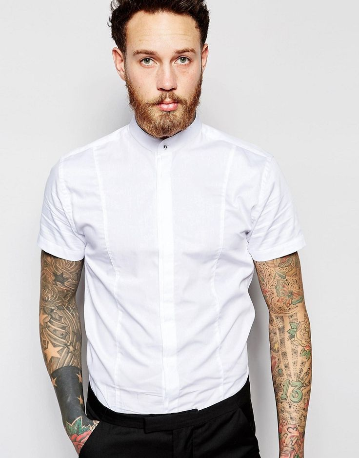 image 1 of noose u0026 monkey short sleeve grandad shirt in skinny fit rovaidw
