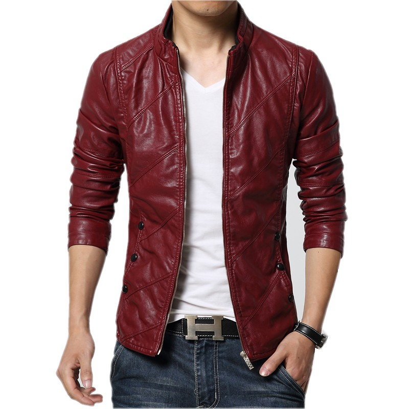jacket for men aliexpress.com : buy new fashion pu leather jacket men black red brown hgwlcch
