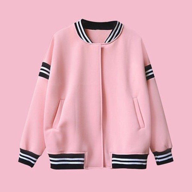 jacket grunge kawaii college kawaii grunge baseball jacket pink jacket pink  bomber tdcrvzg