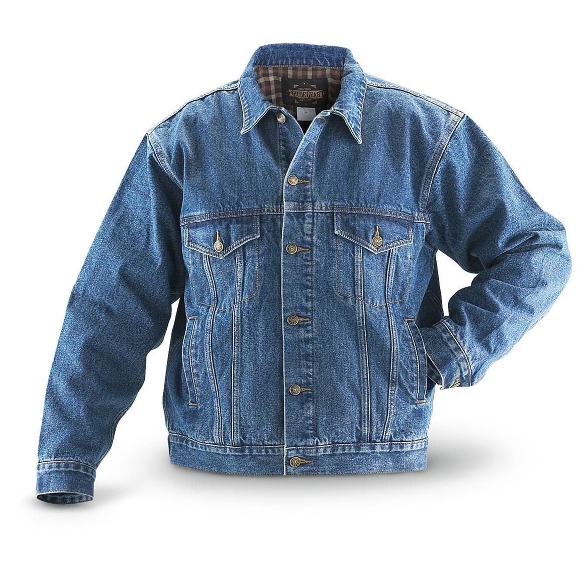 jean jackets guide gear flannel-lined denim jean jacket, stonewash ioqzuvi