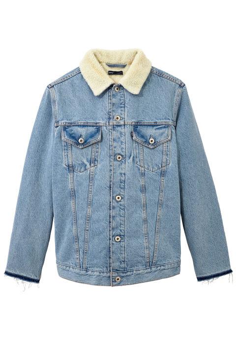 jean jackets leviu0027s c/o off-white denim and shearling jacket, $1,437; off- sjezdsk