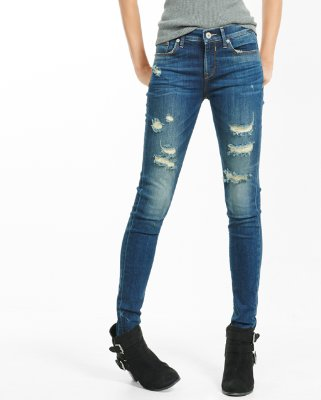 jeans leggings ... mid rise dark wash distressed stretch jean leggings dffvodv