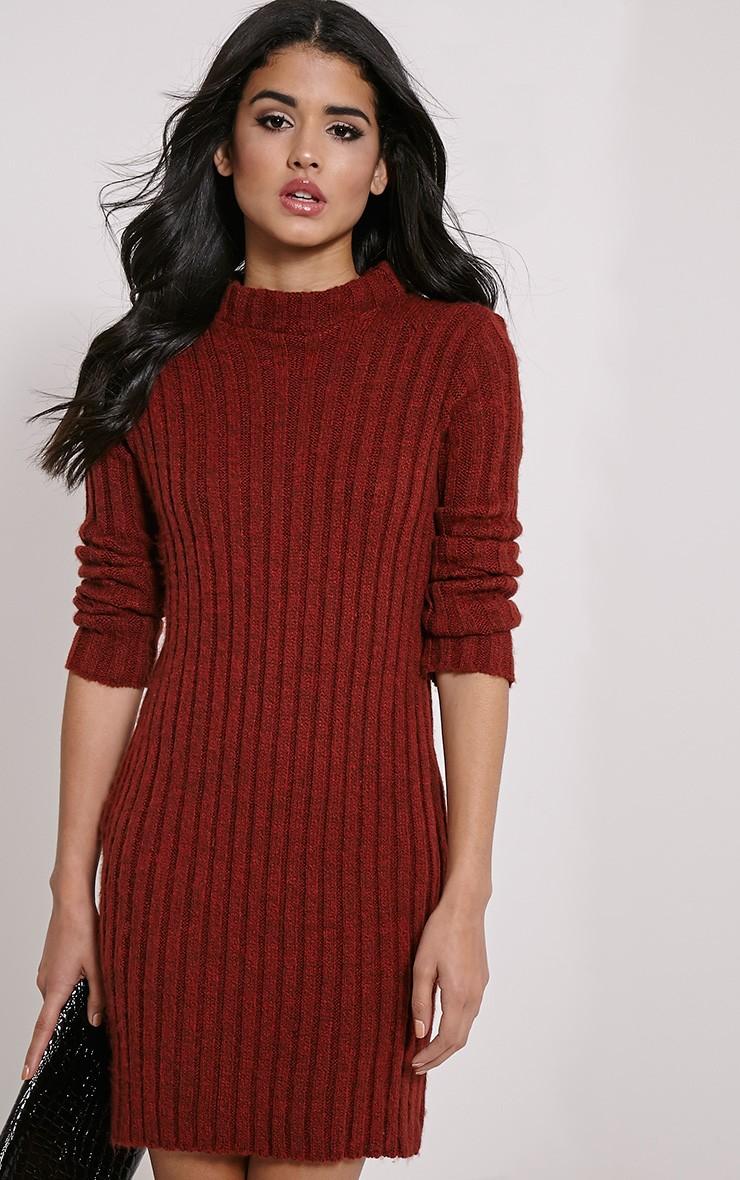 kirby rust marl long sleeve knitted dress hyujfqh