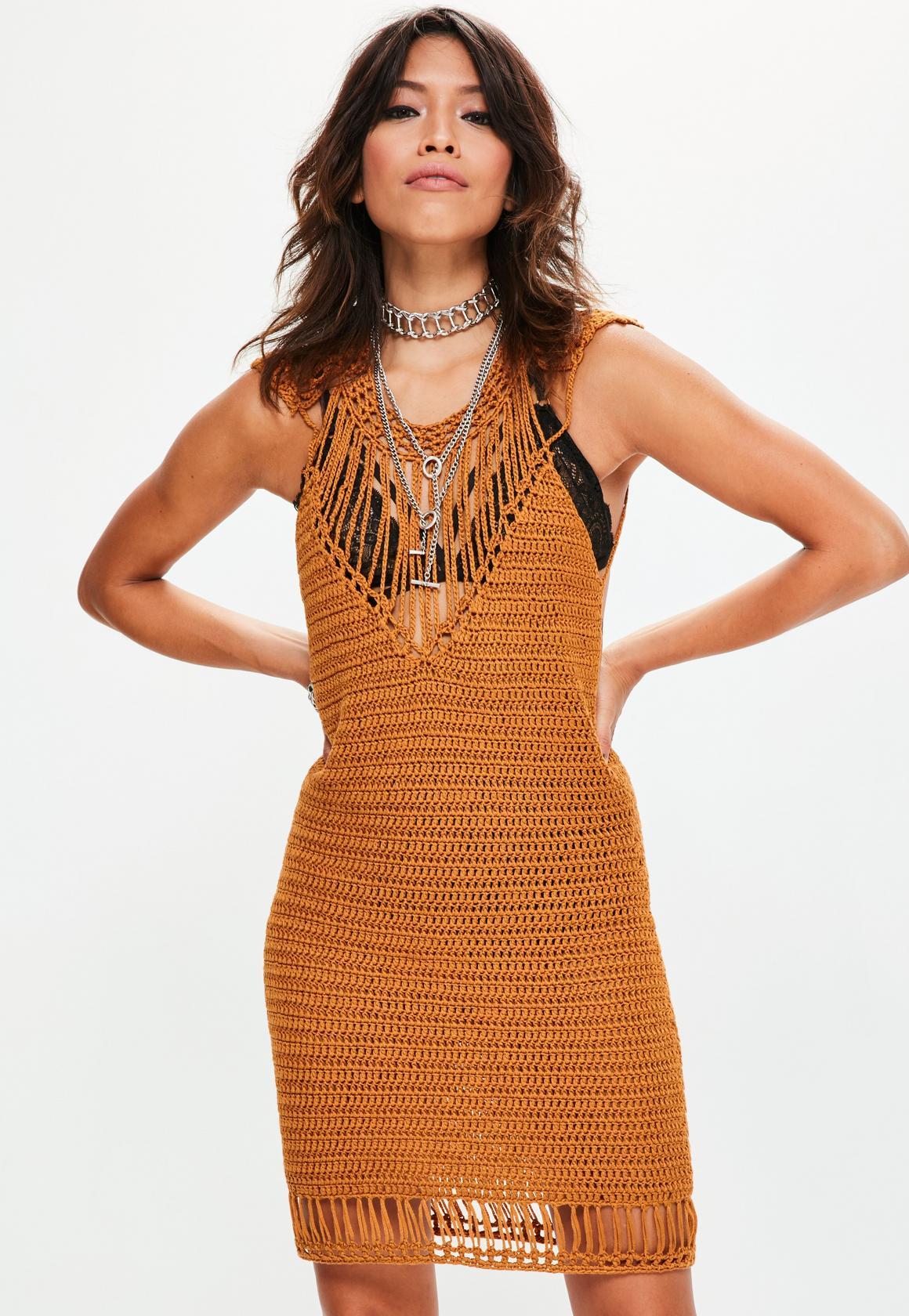 knitted dress ... tan harp shoulder crochet mini knitted sweater dress avngalj