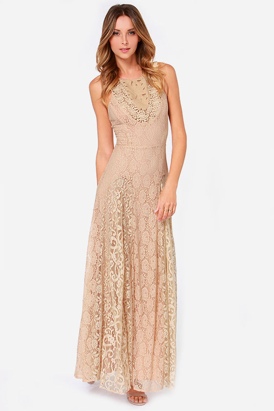 lace long dress pretty beige dress - lace dress - maxi dress - tan dress - rvdbvez