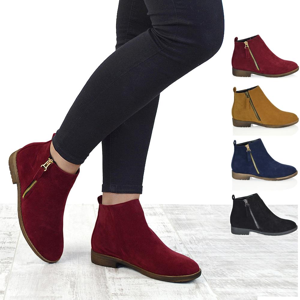 ladies ankle boots womens chelsea block heel riding biker metal zip ladies flat ankle boots pkaqngv