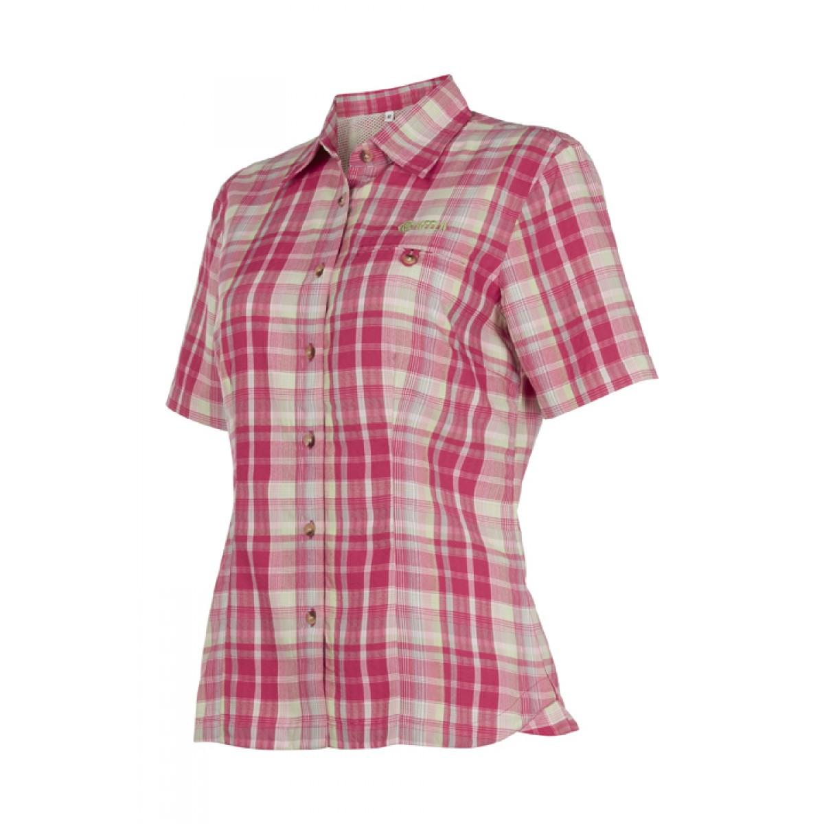 ladies shirts ladies short sleeve travel shirt pink check cdymuut