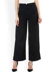 ladies trousers sassafras women black solid smart fit flat-front trousers uajmbeh