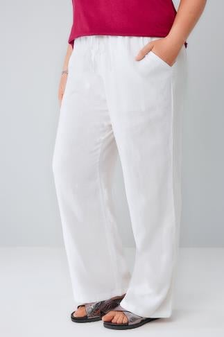 ladies trousers white linen mix pull on wide leg trousers with pockets 142002 ighhopb