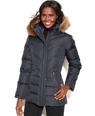 larry levine coats larry levine coat, hooded faux-fur-trim quilted puffer - coats - women mambmbq