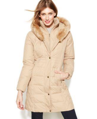 larry levine coats larry levine faux-fur-trim hooded down coat rapffif