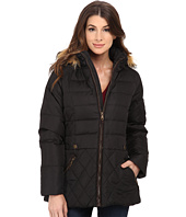 larry levine coats ... larry levine - short hooded down with faux leather trim gahmfei