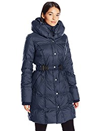 larry levine coats larry levine womenu0027s 3/4 pillow collar puffer with faux leather side tabs tlcispo