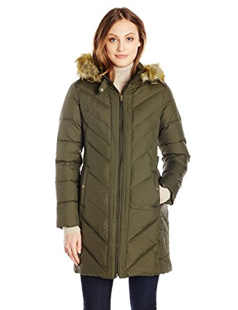 larry levine coats larry levine womenu0027s long sleeve down coat with side tabs and hood,military ffskawh