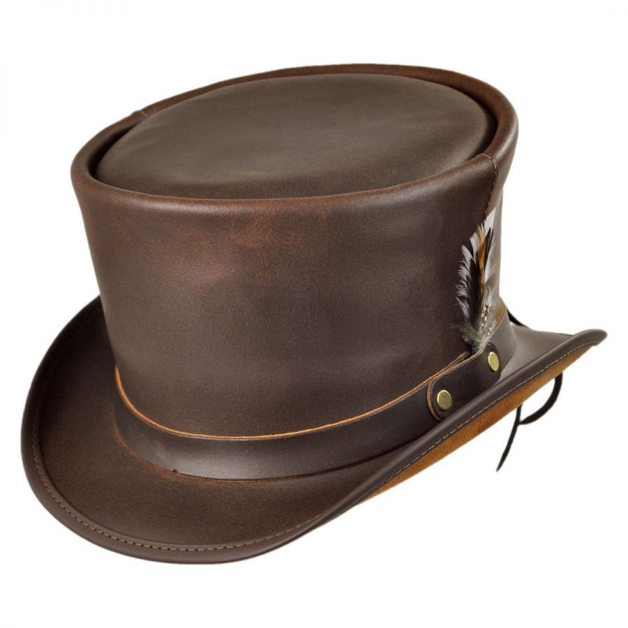leather hats head u0027n home coachman brown leather top hat glkoyox