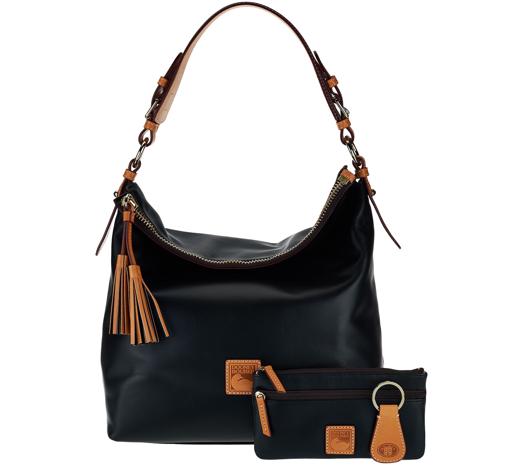 leather hobo bags dooney u0026 bourke smooth leather hobo with accessories - page 1 - qvc.com iqhqdoc