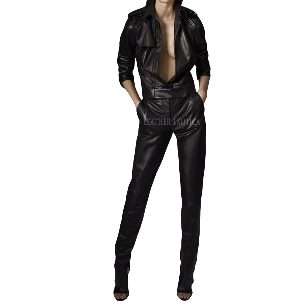 leather jumpsuit cool style leather women jumpsuit xfhplis