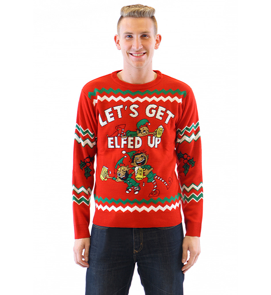 letu0027s get elfed up drunken elves ugly christmas sweater fhlsvmg