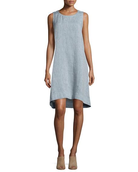 linen dresses eileen fishersleeveless chambray linen dress, plus size cpoypdd