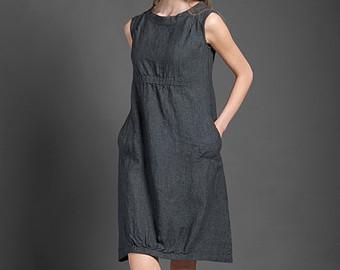 linen dresses pure linen dress, dark gray dress for summer, woman dresses for summer, midi zegktct