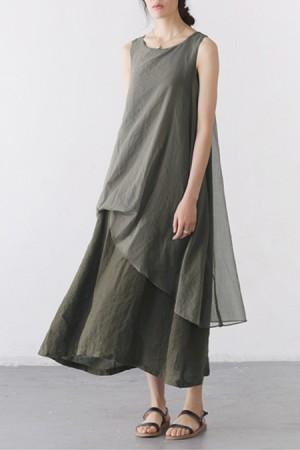 linen dresses quick view · lagenlook two-layer linen sleeveless ankle-length dress ... ghbkvhq