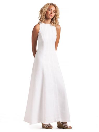 linen dresses white linen hera dress from island company ... kpjlmzb