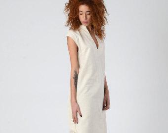 linen dresses womenu0027s linen dress, hippie chic midi maxi caftan dress, off-white wedding  kaftan qtfzish