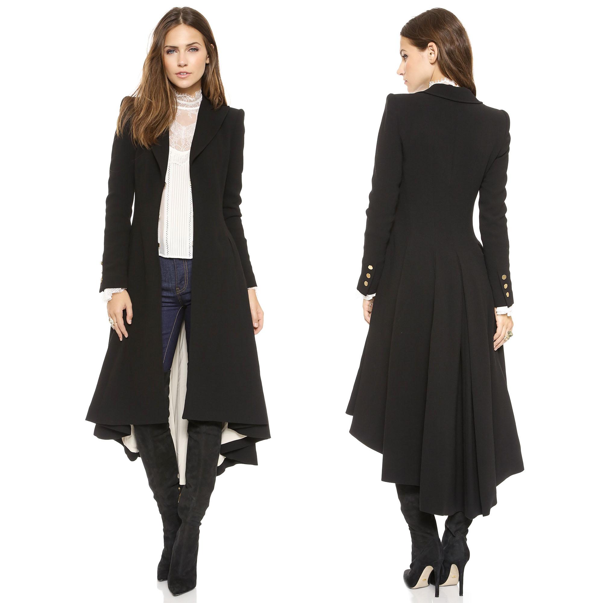 long black coat steampunk black swallow tail woolen coat 90214 yzwkumf