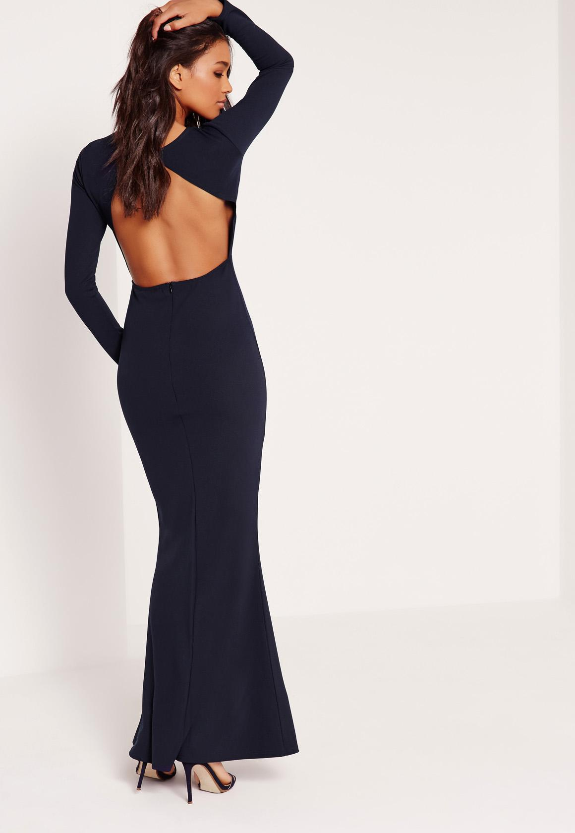 long sleeve open back maxi dress navy sejtmug