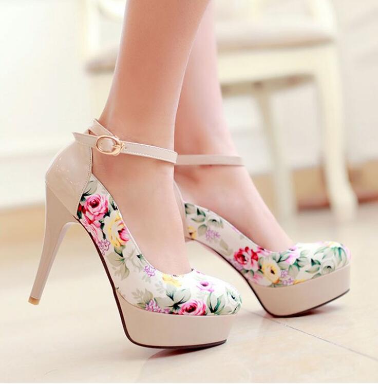 lovely flower print high heels, cute high heels, women high heels bphgkui