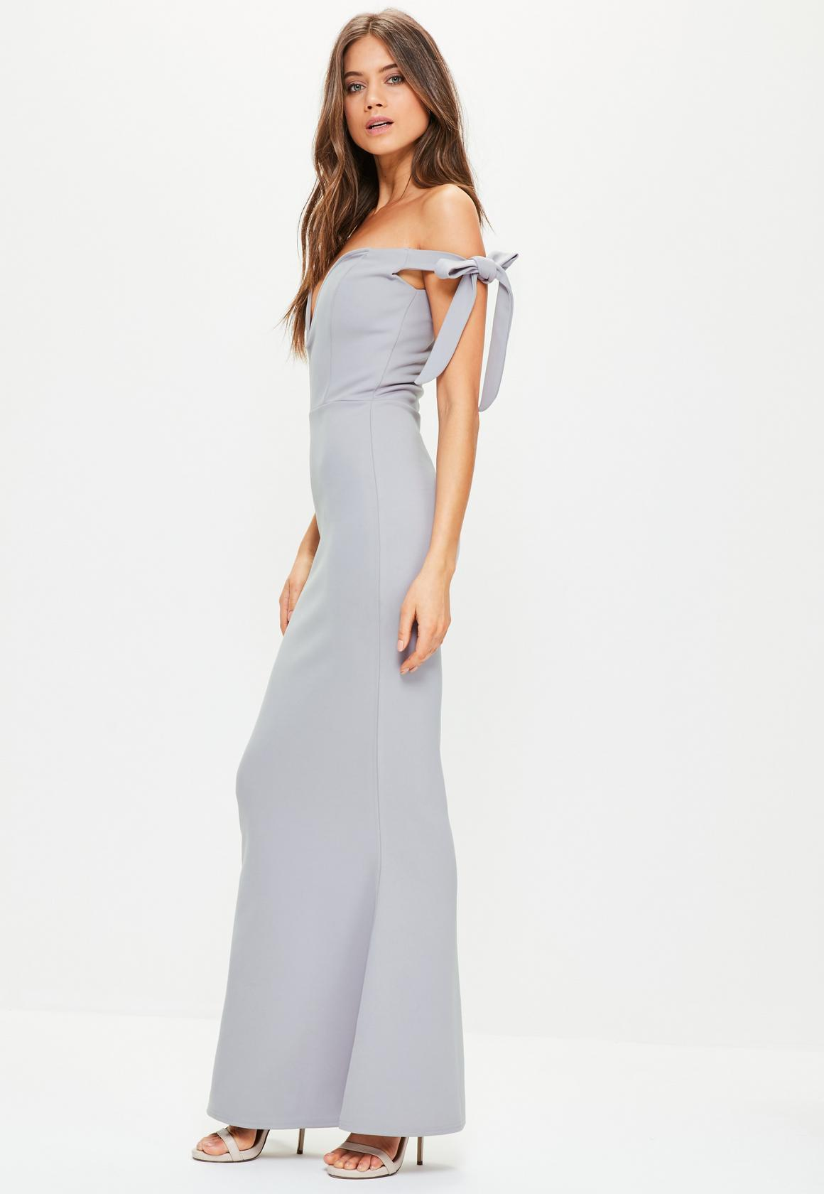grey maxi dress grey sweetheart neck bardot tie maxi dress datzinl