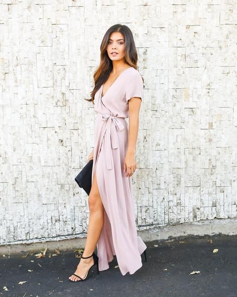 maxi wrap dress solid bardot wrap dress - mauve lekdoxt