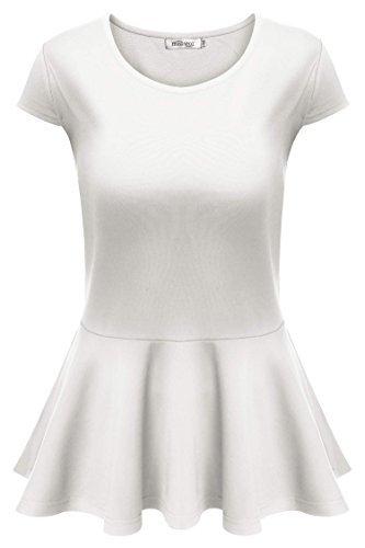 meaneor womenu0027s slim fit short sleeve round neck peplum tops blouse white l mqrysbj
