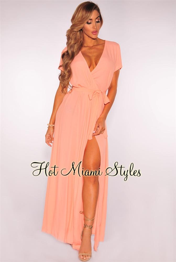 melon belted maxi wrap dress enwtyai