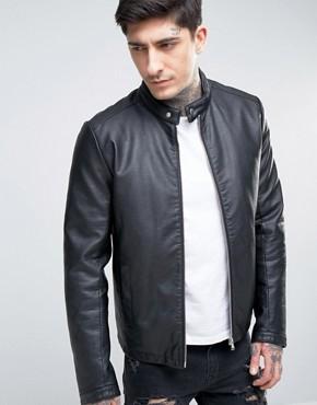 men leather jacket asos faux leather racing jacket in black afdcnal