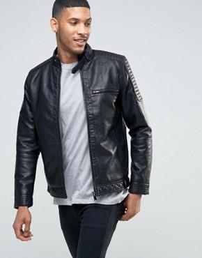 men leather jacket river island biker jacket with racer neckline in faux leather black kuopale