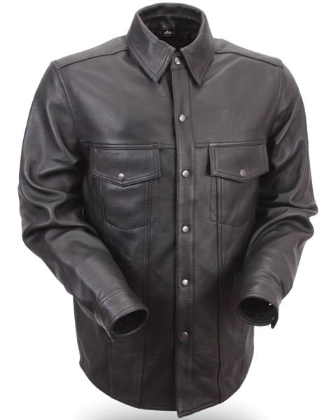 menu0027s lightweight leather shirt hdgwpjy