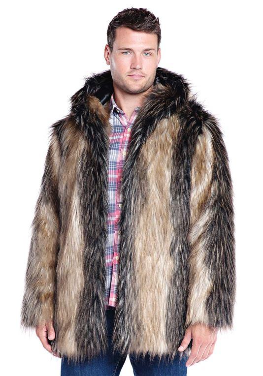 menu0027s pieced fox hooded faux fur jacket - ... fbqpkwf